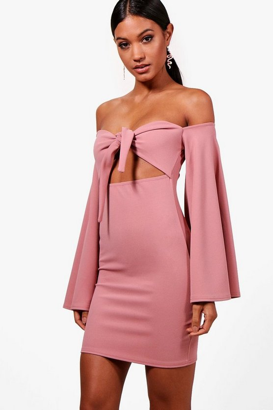 Flared Sleeve Bodycon Dress