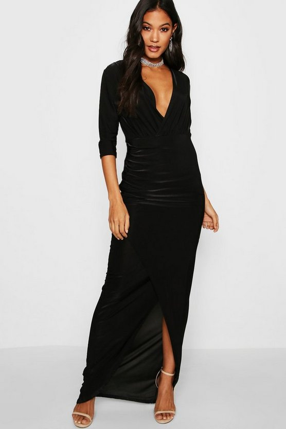 Wrap Top Slinky Maxi Dress