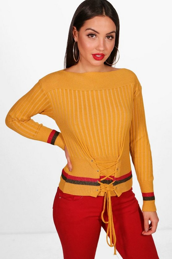 Crew Neck Lace Up Stripe Jumper