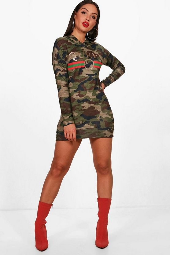 Daisy Queen Camo Hooded Knitted Dress