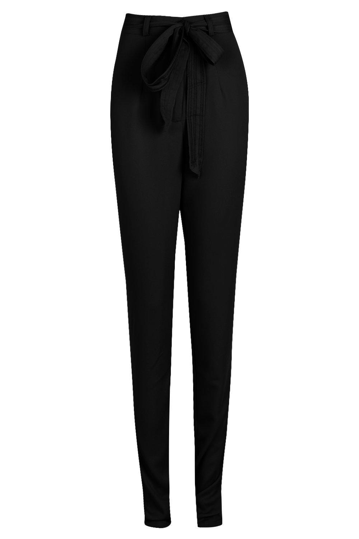 Satén cintura largo con pantalones de en nudo Más negro R0HgwxUq0T