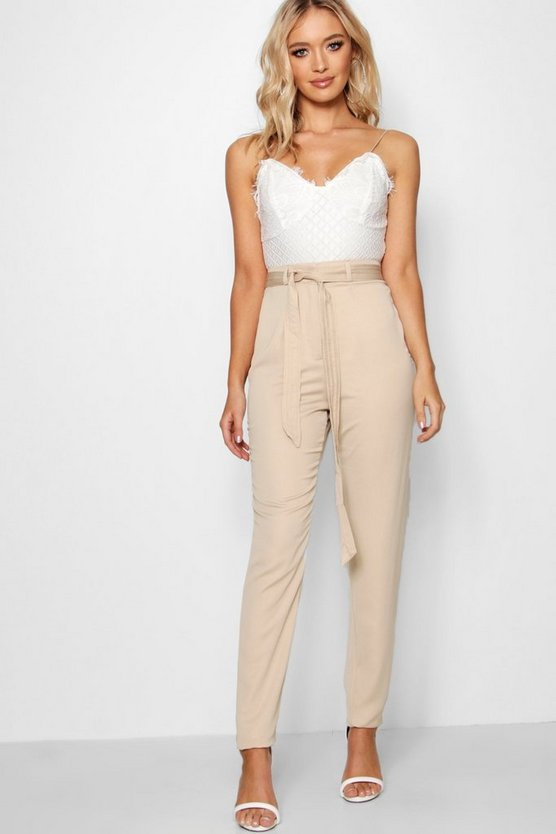 Longer Length Tie Waist Satin Trousers