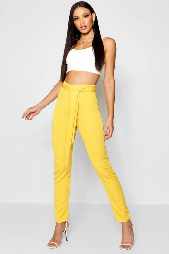 Womens Mustard Longer Length Tie Waist Satin Trousers