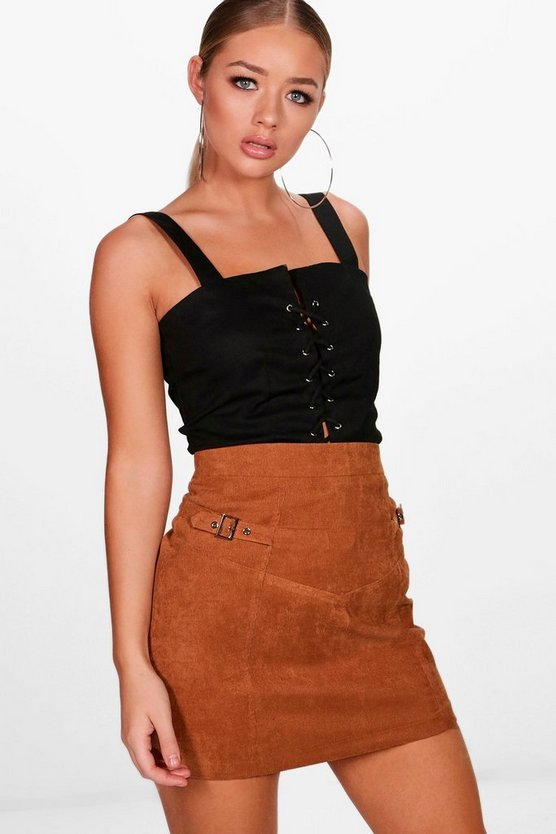 Laura Woven Cord Buckle Detail Mini Skirt