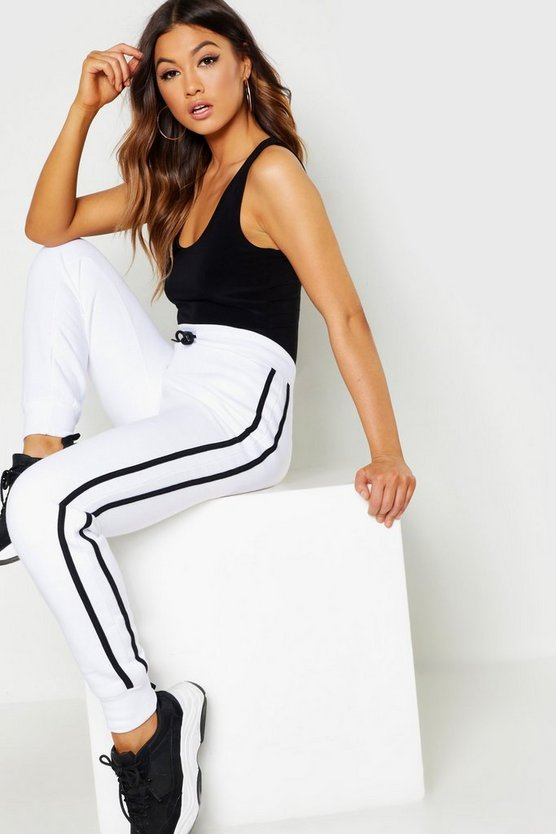 Womens White Contrast Side Panel Sweat Joggers