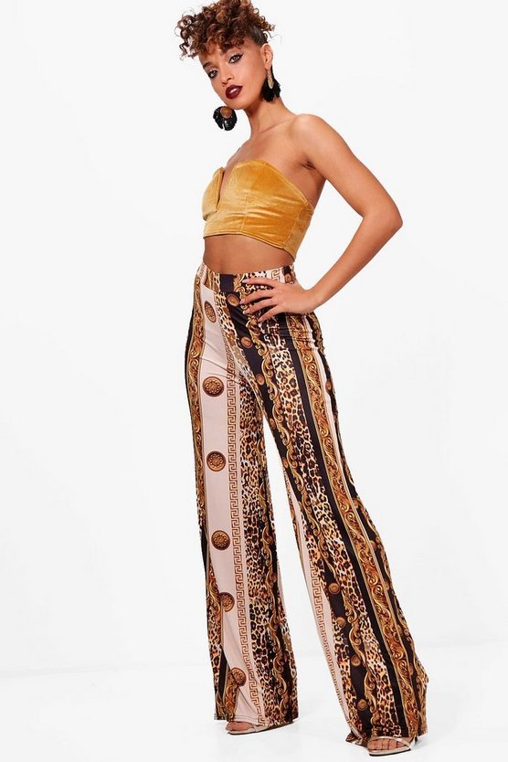 Womens Black Scarf Print Slinky Wide Leg Trousers
