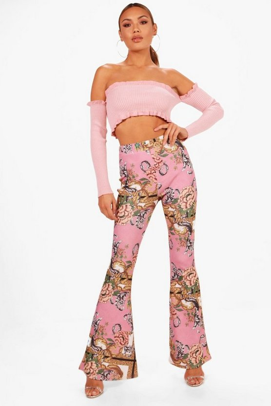 Womens Lilac Scarf Print Crepe Flare Trouser