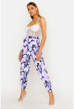 Womens Purple Camo Loopback Cargo Joggers