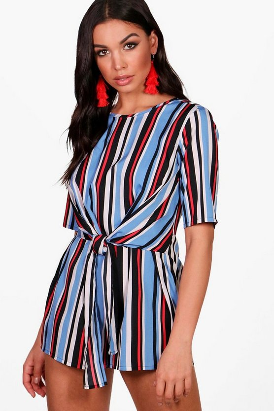 Blue Striped Front Playsuit