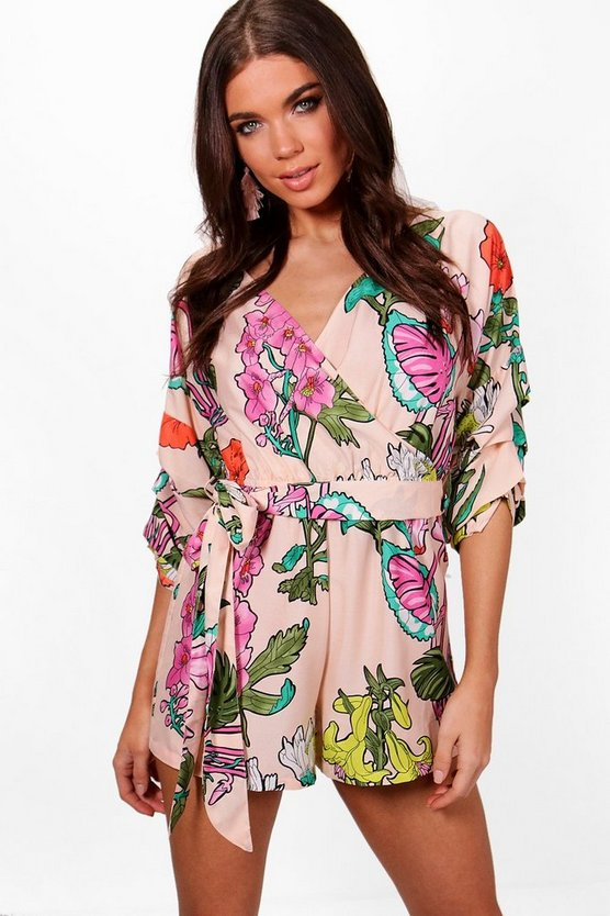 Womens Stone Large Floral Ruffle Sleeve Playsuit