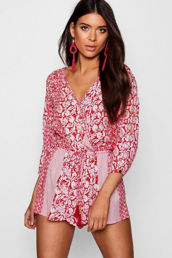 Red Split Sleeve Tassel Trim Playsuit