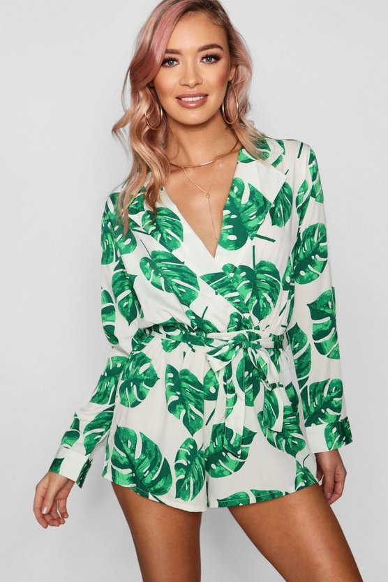 Womens Green Palm Print Wrap Over Playsuit
