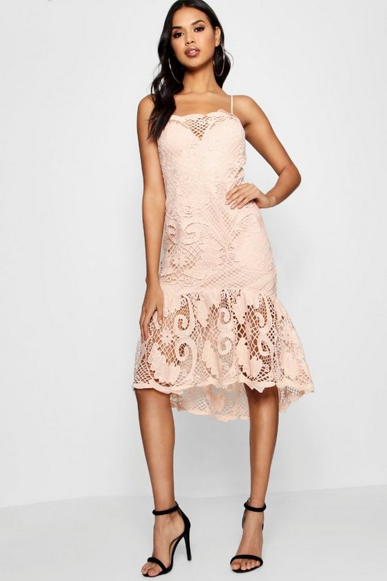 Boutique Lace Sweetheart Midi Dress