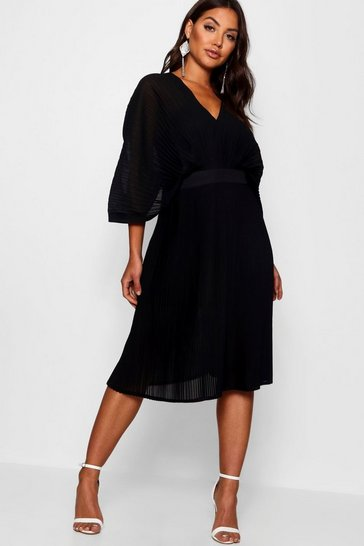 Womens Black Boutique  Pleated Batwing Midi Dress