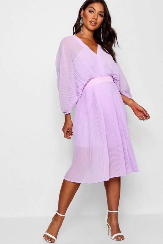 Boutique  Pleated Batwing Midi Dress