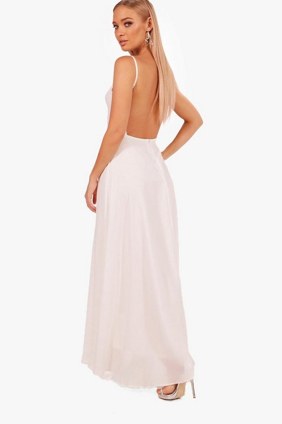 Boutique Open Back Chiffon Maxi Dress