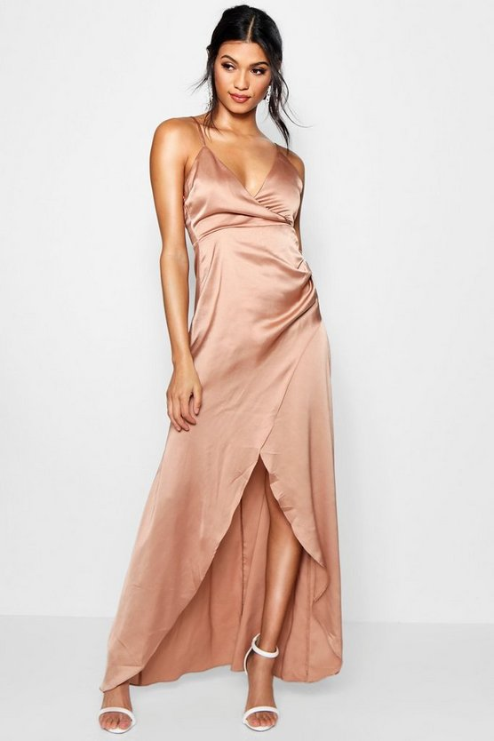 Boutique Satin Wrap Maxi Dress