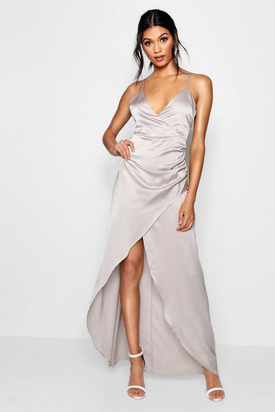 Womens Silver Boutique Satin Wrap Maxi Dress