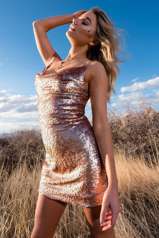 Sequin Neck Slip Dress