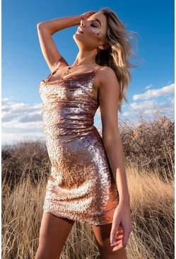Womens Rose Sequin Neck Slip Dress