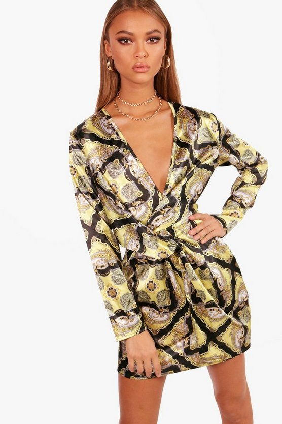 Womens Yellow Scarf Print Woven Twist Detail Shift Dress
