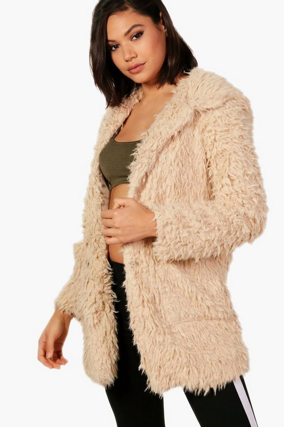 Holly Hooded Shaggy Faux Fur Coat