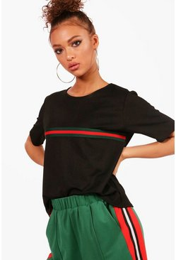 Womens Black Sports Stripe Placement T-Shirt