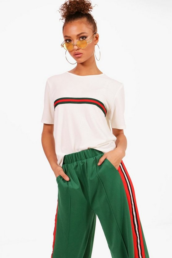 White Sports Stripe Placement T-Shirt