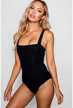 Black Basic Rib Square Neck Thick Strap Body