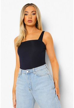 Navy Basic Rib Square Neck Thick Strap Body