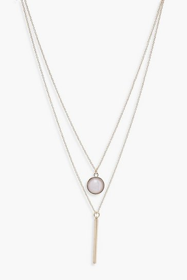 Womens Gold Layered Moonstone and Bar Necklace