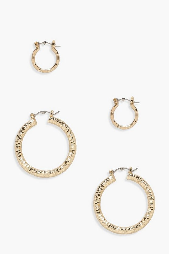 Elle Hammered Hoop 2 Pack