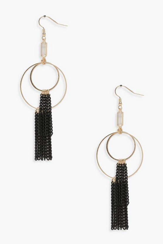 Layered Hoop Chain Tassel Diamante Earrings