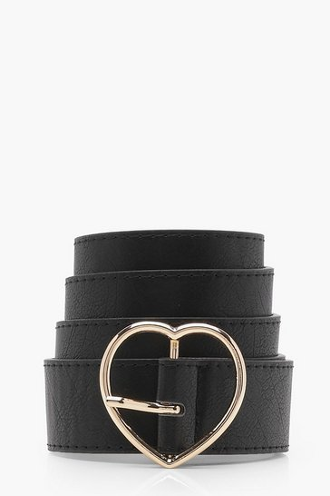 Womens Black Heart Buckle Boyfriend Belt