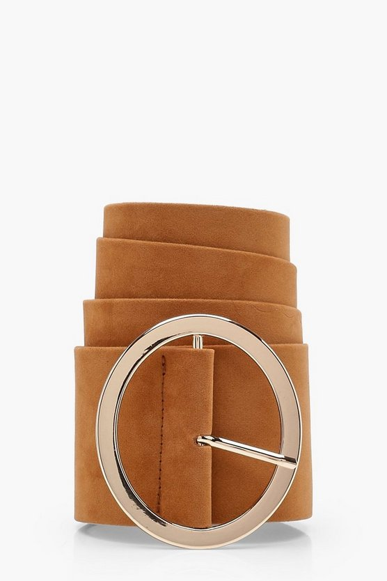 Casey Circle Buckle Suedette Belt