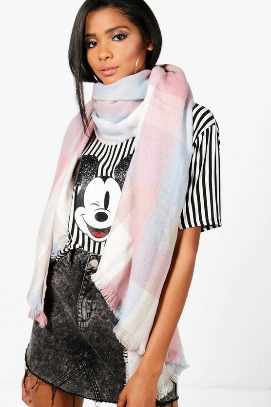 Womens Pink Fliss Pastel Check Heavyweight Scarf