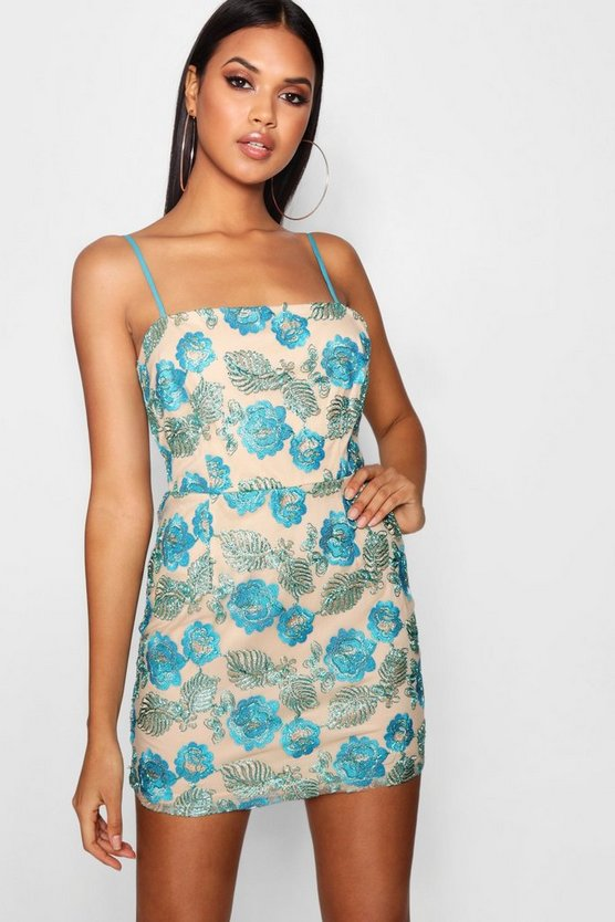 Blue Embroidered Square Neck Bodycon Dress