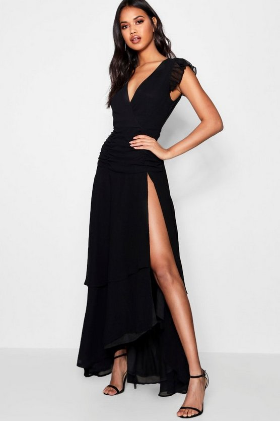 Womens Black Ruffle and Ruched Detail Maxi Dress