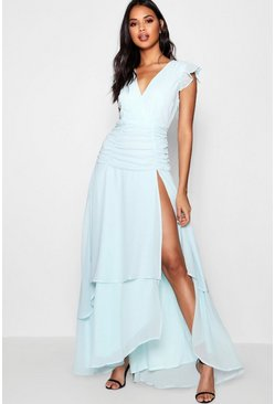 Womens Sky Ruffle and Ruched Detail Maxi Dress