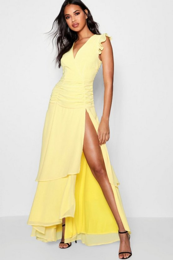 Womens Yellow Ruffle and Ruched Detail Maxi Dress