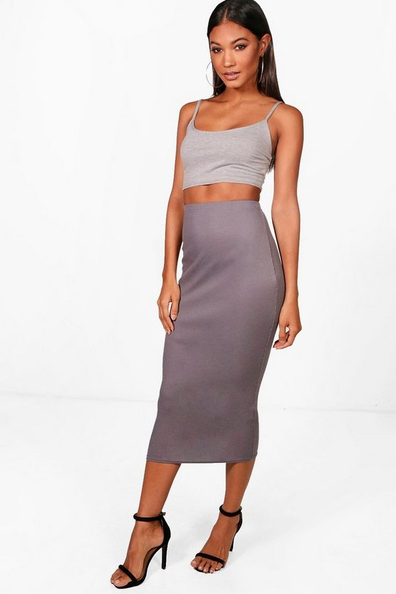 Womens Grey Strappy Bandeau & Rib Midi Co-ord