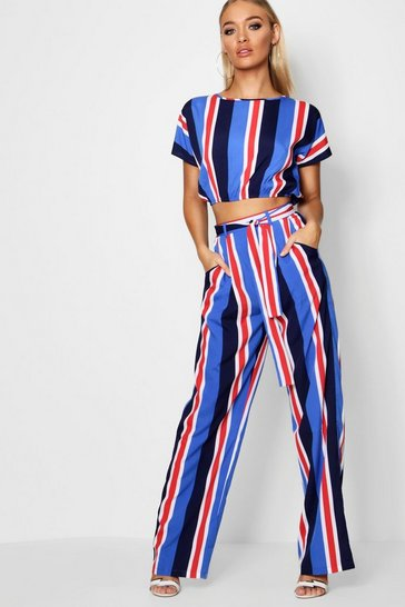 Womens Navy Stripe Woven Wide Leg Trouser Co-ord