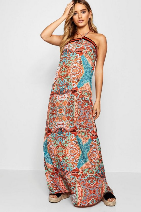 Green Multi Print Stripe Trim Maxi Dress