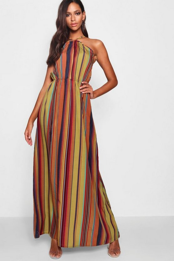 Womens Brown Stripe Halter Cut Out Maxi Dress