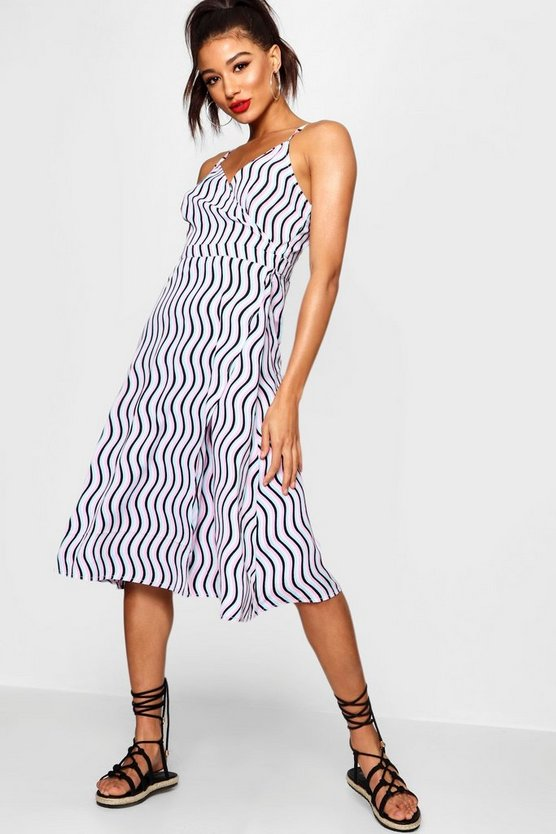 Pink Wave Stripe Strappy Midi Dress