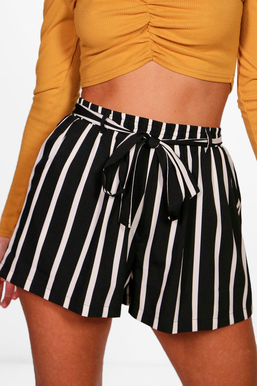 a con Pantalones negro rayas cortos cinturón anudado 4vv5F