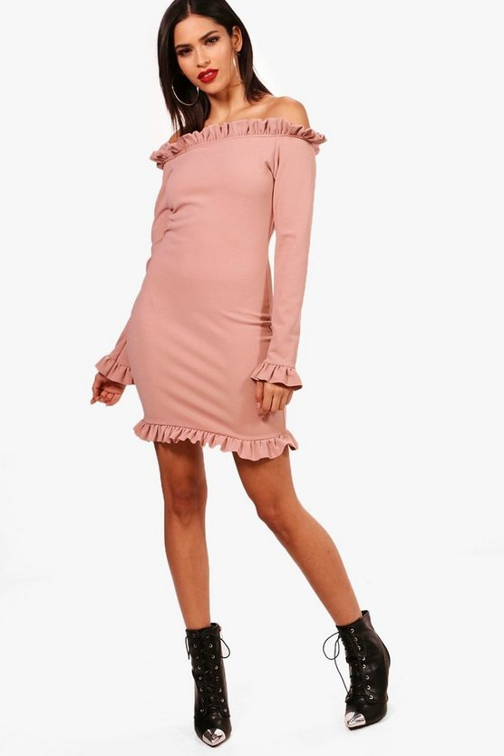Off the Shoulder Frill Edge Bodycon Dress