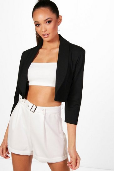 Black Collared Crop Blazer