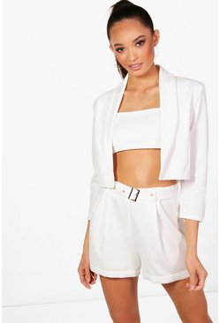 Cream Collared Crop Blazer