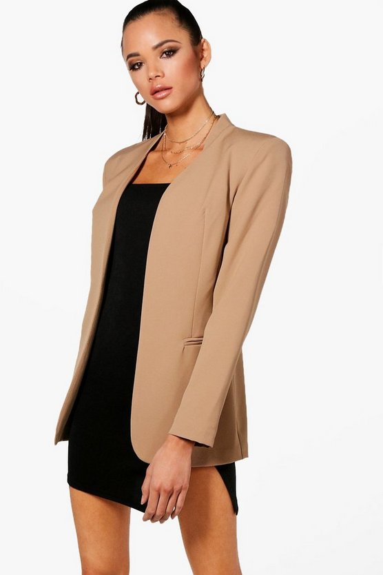 Collarless Fitted Blazer
